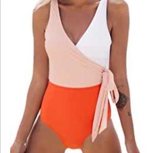 Women's Cupshe orange & white one-piece Medium